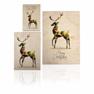 houten kaart met een rendier voor kerst