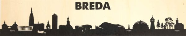 Skyline van Breda op hout