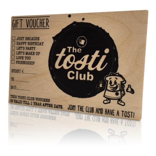 tosticlub gift voucher van hout